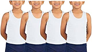 Kids Basket Kids Boys 100% Pure Cotton Vest Inner wear (Pack of 4) - Regular Use