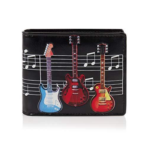 Shagwear ® Geldbörse Portemonnaie Herren Geldbeutel Herren Portmonee Designs: (E-Gitarre Schwarz/Electric Guitars)