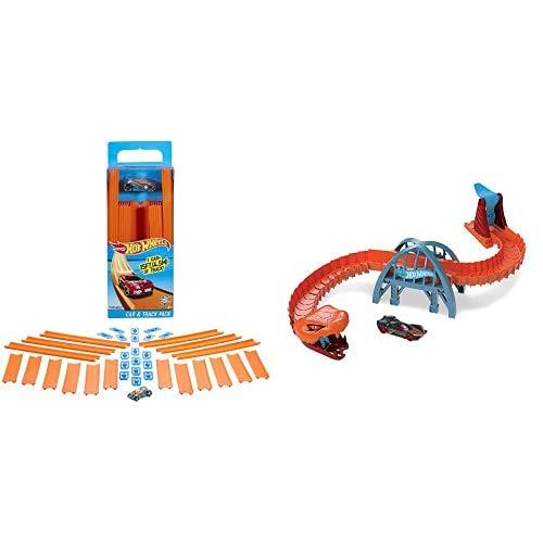 Hot Wheels BHT77 Track Builder Gerade Rennbahn Set+GJK88 - City Viper-Brücken-Angriff Spielset zum Herumschieben und Geschichtenerzählen+GCF92 - Track Builder System Rennstarter