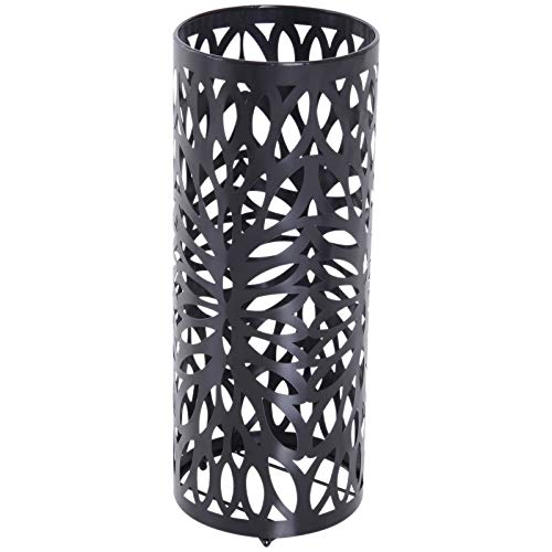 homcom Portaombrelli Design Moderno con 2 Ganci e Salvagoccia, Metallo, Nero, Φ19,5x50 cm