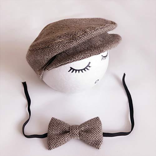 Zhangl Apparel Accessoires de photographie pour nouveau-né Bonnet Cabbie avec nœud papillon Noir/blanc Couleur 3