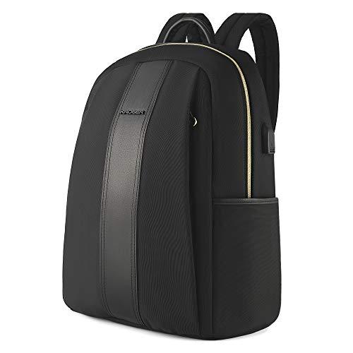 KROSER Rucksack Damen Laptop Rucksack für 15.6 Zoll(39,6cm) Laptop Schulrucksack Stylischer Moderner Einfacher Business Rucksäcke Wasserabweisend Nylon mit USB-Ladeanschluss für Reisen/Mädchen MEHRWEG