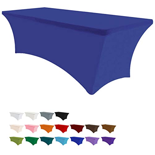 Eurmax 6Ft Rectangular Fitted Spandex Tablecloths Wedding Party Patio Table Covers Event Stretchable Tablecloth (Navy Blue)