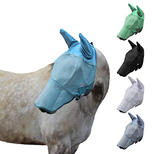 Derby Originals UV-Blocker Reflective Safety Horse Fly Mask with Ears and Nose Cover Available in Multiple Sizes and Colors