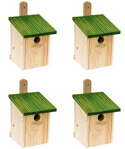 MAZUR International 4 x Nistkasten Natur für Blaumeisen & kleine Meisenarten aus Holz -wetterfest, Vogelhaus für Meisen, Nisthilfe mit 32 mm Einflugloch Vogelhaus Meisenkasten Nisthöhle …