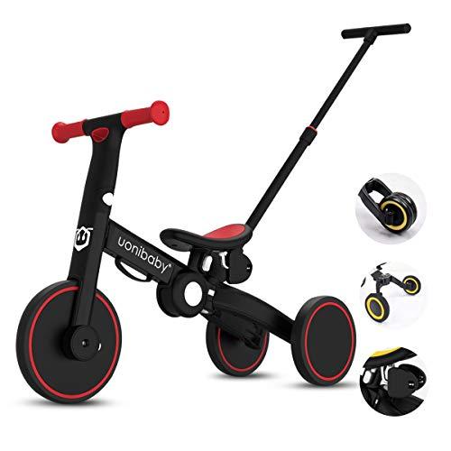 OLYSPM 5 in 1 Laufräder Kinder Dreirad Lauflernhilfe,leichtes Kinderrad Lauflernrad faltbar Kinderlaufrad,mit Schubstange Kinderdreirad,laufrad ab 1.5 Jahre bis 5 Jahren(Rot)