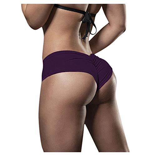 BOIYI Shorts Pantalones Deportes Cortos de Fitness Leggings Mujer Fitness, Leggings de Yoga Sólido Color para Mujer Mallas para Mujer Elástico de Alta Cintura para Correr Gimnasio Gym(Purpúreo,XL)