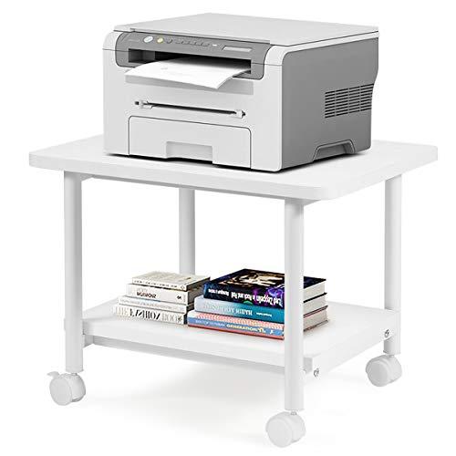 COSTWAY Druckerständer rollbar, Bürocontainer Multifunktionswagen Druckerablage, Druckertisch 2 Ebenen (weiß)
