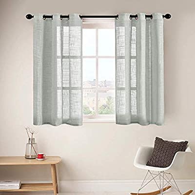 CUTEWIND Grey Linen Textured Sheer Curtains for Bedroom 54 Inches Length Window Curtain Panels Grommet Top Window Treatment Set for Living Room (1 Set, Grey, W34×L54 Inches)