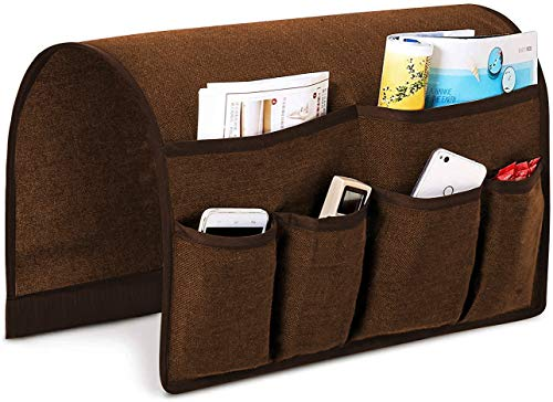 Joywell Sofa Armrest Organizer, Couch Arm Chair Caddy with 6 Pockets for Magazine, Books, TV Remote Control, Cell Phone, iPad (Chocolate)