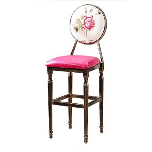 XQAQX kruk vintage massief houten bar café stoel American barkruk huis comfortabele rugleuning stoel Stool