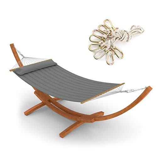 Ampel 24 Hängematte im Set mit Sicherung und Holz Gestell Madagaskar 400 cm, Hängemattengestell braun, Stabhängematte gepolstert mit Kissen Bezug grau