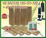 S&G group 40 Sacchi Filtro + 40 PROFUMI ASPIRAPOLVERE Folletto VK120 VK121 VK122