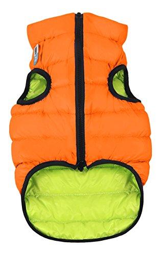 CHAPUIS SELLERIE Gilet Doudoune Réversible en Polyester pour Chien Orange/Vert Taille XS25