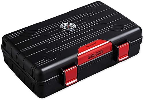 PANGPANGDEDIAN Travel portátil Caja de hidratación Hidratante Termómetro Externo Tenedor de Cigarrillo Caja Decorativa (Color : Red, Size : 21.5 * 12.3 * 5.5cm)