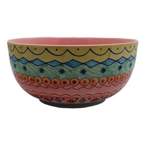 Gall&Zick Salatschüssel Schale Keramik Handbemalt Bunt (1 x Rosa, Groß)