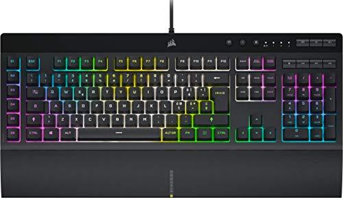 Corsair K55 RGB PRO XT Tastiera Gaming a Membrana Cablata, Retroilluminazione RGB, 6 Tasti Macro con Integrazione Software Elgato, Resistente all infiltrazione di Polvere e Liquidi, QWERTY, Nero
