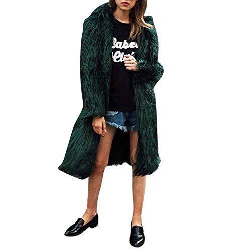 SHOBDW Damen Winter Simplicity Solid Warme Künstliche Pelz Hoodie Webpelz Mantel Frauen weich Plüsch Lang Jacke Parka Outerwear Elegant Lässig Flauschigen Bequemes Trenchcoat Sweatshirt Outwear