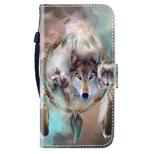 Sunrive Kompatibel mit OUKITEL K5000 Hülle,Magnetisch Schaltfläche Ledertasche Schutzhülle Etui Leder Hülle Handyhülle Tasche Schalen Lederhülle MEHRWEG(Wolf Traumfänger B1)