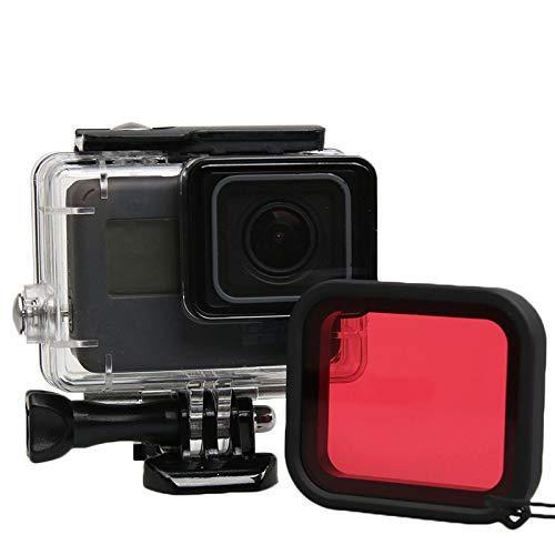 Filtro de buceo Estuche impermeable rojo Carcasa subacuática Filtros de buceo Protector de lente para Gopro Hero 5 Negro