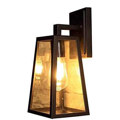 Light Exterior Porch Light Wedstrijden, hoogte 43 Outdoor wandlamp for House in zwarte afwerking met zaadjes glazen kap