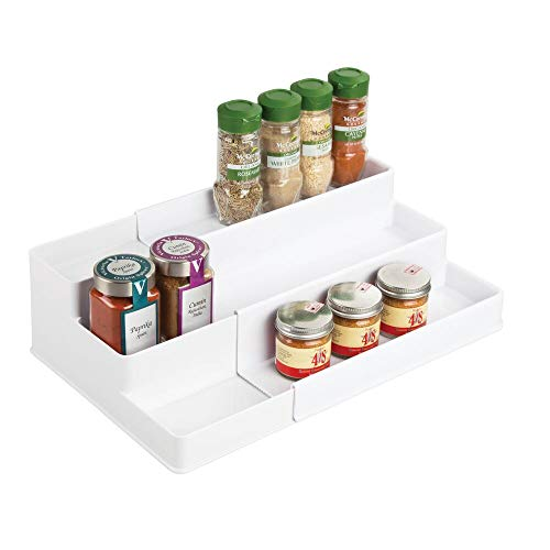 mDesign Plastic Adjustable, Expandable Kitchen Cabinet, Pantry, Shelf Organizer/Spice Rack with 3 Tiered Levels of Storage for Spice Bottles, Jars, Seasonings, Baking Supplies - White