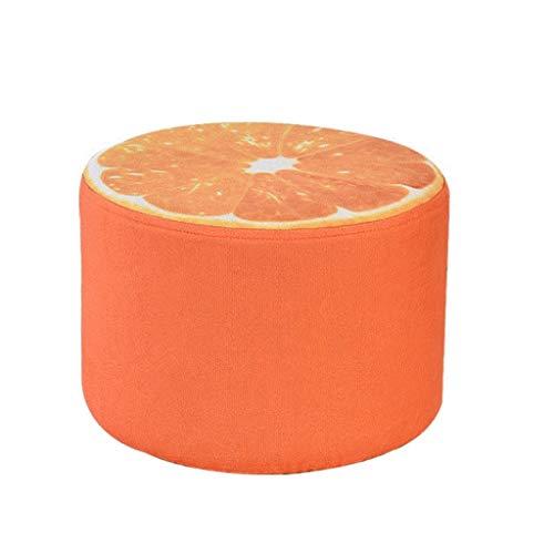 QIFFIY Hombre de la Esponja Inflable Espesar Cubierta de Peluche 3D Fruta Inflable Puf Pouf Silla Encantadora niños cojín taburetes portátil (Color : Orange)