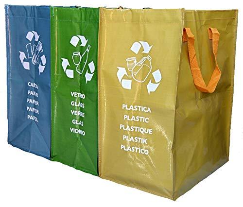 Teraxel Borse Raccolta Differenziata da Interno Colorati Secchi Spazzatura Contenitori Rifiuti Riciclaggio Carta Vetro Plastica Casa e Cucina Eco Bags