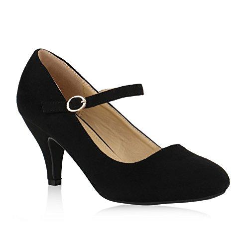 Klassische Damen Pumps Spitze High Heels Basic Stiletto Riemchenpumps Kroko Print Schuhe 137185 Schwarz Schnalle 38 Flandell