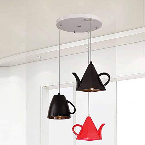 BELYSN Pendelleuchte Modern LED 3-Flammig Höhenverstellbar Kreativ Teekanne Teetass Hängelampe Resin Lampenschirm Pendellampe für Kinderzimmer Schlafzimmer Restaurant Cafe Deko Beleuchtung