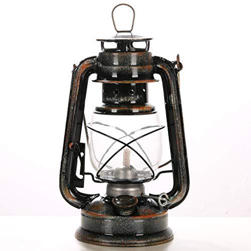 YIKE-lantaarn Retro Petrol lamp Cherosene Dekoleuchte 24,5 cm klein, lampenkap van glas, geschikt voor interieur, buitentent, bar (antiek geel)