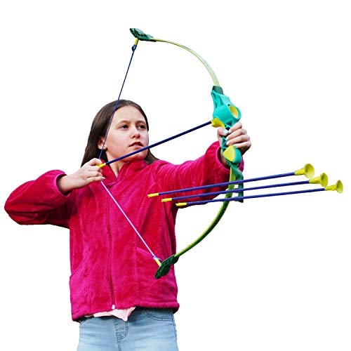 Clever Warrior Bow and Arrow for Kids - Adjustable Length from 26'' to 36'' - Safe and Extremely Durable - Kids Archery Set includes 6 Suction Cup...