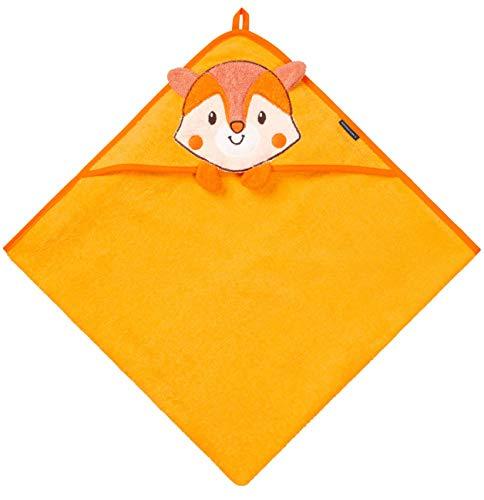Morgenstern Kinderhandtuch mit Kapuze OEKO-TEX® 100% Baumwolle 80 x 80 cm groß, orange, für Neugeborene, Junge und Mädchen Alter 0-24 Monate Fuchs