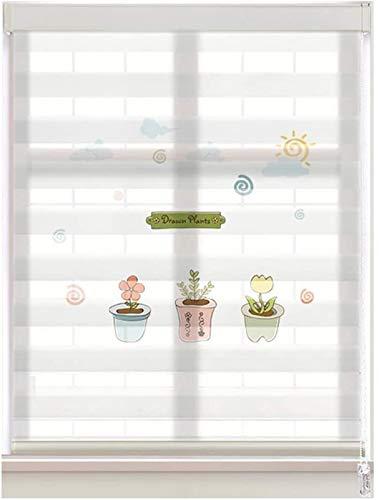 DUAL CAPA CHEER Persianas Tratamiento de la ventana for la privacidad y el control de la luz, tela de poliéster Zebra Roller Shades impermeable estor enrollable ( Color : White , Size : 95x180cm )