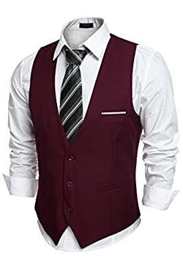 COOFANDY Men's V-Neck Sleeveless Business Suit Vests Slim Fit Wedding Waistcoat,Type-02 Wine Red,Small(chest: 41.3'') from