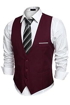 COOFANDY Men s V-Neck Sleeveless Business Suit Vests Slim Fit Wedding Waistcoat Type-02 Wine Red Medium chest  43.3