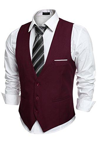 COOFANDY Men's V-Neck Sleeveless Business Suit Vests Slim Fit Wedding Waistcoat, Type-02 Wine Red, Medium(chest: 43.3'')