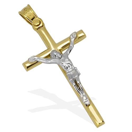 Kreuz-Anhänger Massiv Gold 585 Gelbgold Weissgold Bicolor 14 Karat Korpus Goldkreuz Goldanhänger- Herren Damen 41mm x 20mm