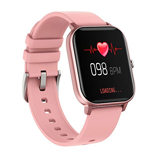 Lixibei Smart Watch, Touch Screen Smart Watch, Fitness Tracker Blood Pressure Heart Rate Sleep Monitor Pedometer, Waterproof Smart Wrist for iOS Android, Best Gift for Men Women,Pink