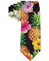 MrDecor Tropical pineapple Men's Printed Floral Etiquette Gentleman Neck Tie, Medium
