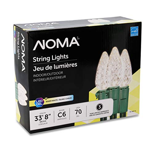 NOMA LED Christmas Lights | 70-Count C6 Classic Clear White Bulbs | 23' 8' String Light | UL Certified | Outdoor & Indoor
