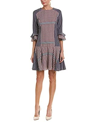 Badgley Mischka Navy Plaid Short Dress