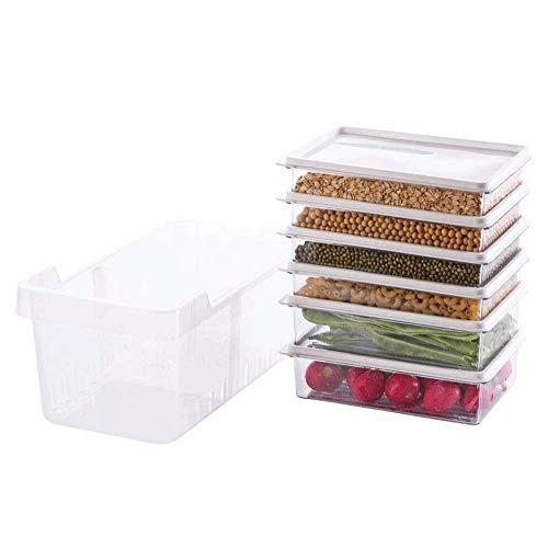Hanpiyigfh Lunch Box Conjunto de contenedores de alimentos de 7, caja de crisper plástica, organizador de almacenamiento de nevera, caja de almacenamiento fresco, paquete económico, contenedor de refr