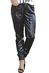 Black-42 Sequin Bell Bottoms Trousers