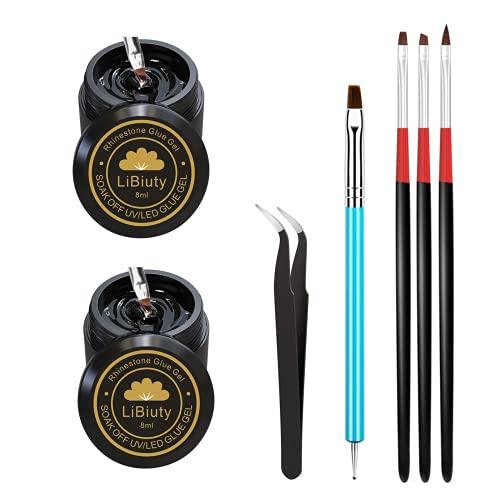 2 bottle Nail Art Rhinestone Pegamento Kit con 4 Pinceles de Arte de Uñas para Decoración Adornos de Uñas