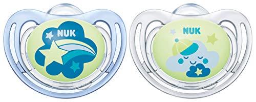 NUK 10176274 Freestyle Night Silikon-Schnuller, kiefergerechte Form, 6-18 Monate, 2 Stück, blau & transparent
