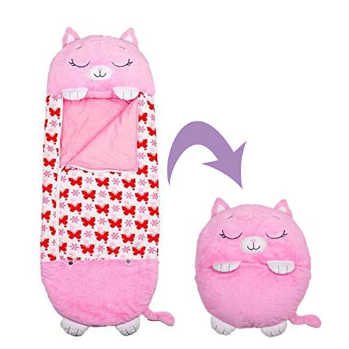 "Happy Animal Kids Sleeping Bag Slumber Bags Nap Mat Ladybug Soft Warm Girls Boys Cute Pink Cat Play Pillow & Sleep Sack Surprise(54""x20"")"