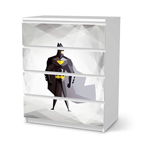 creatisto Möbel-Tattoo für Kinder - passend für IKEA Malm Kommode 4 Schubladen I Tolle Möbelfolie für Kinder-Möbel Deko I Design: Mr. Black