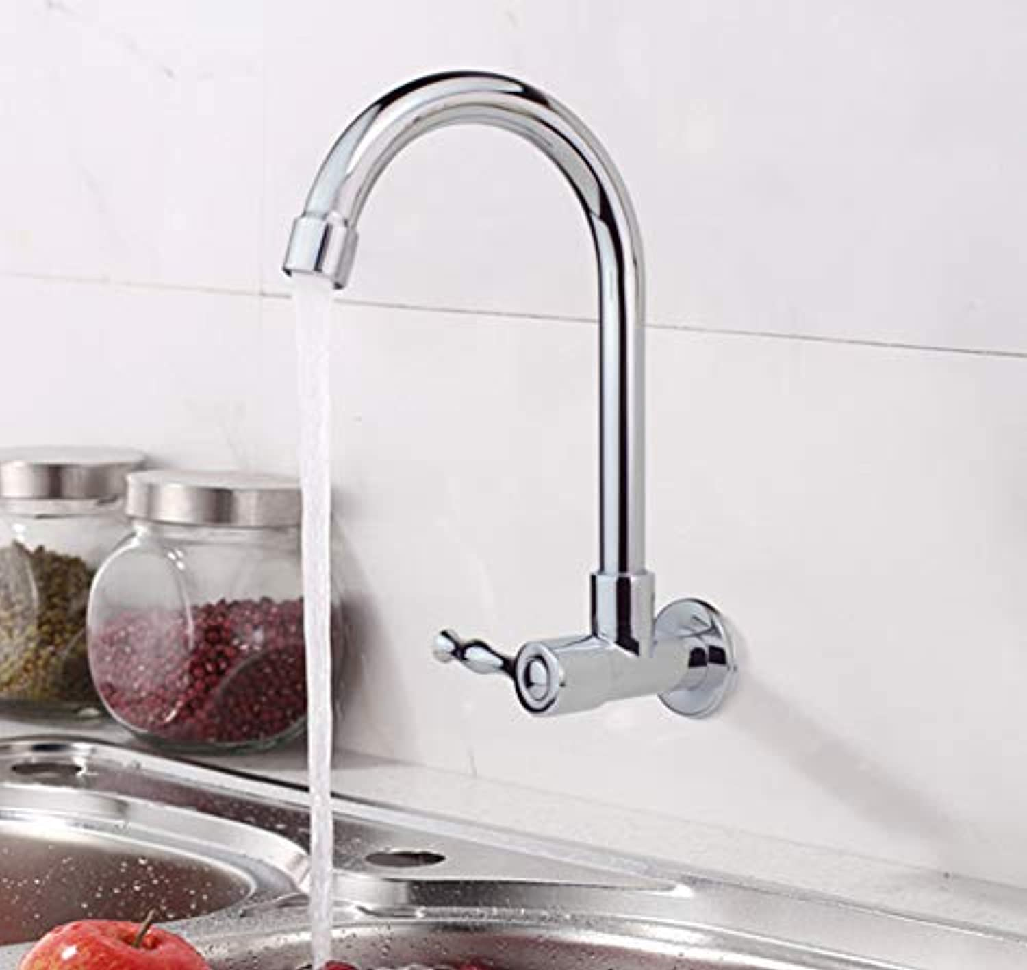 redating Kitchen Single Cold Faucet into The Wall Faucet Wall Water Washing Sink Sink Faucet Copper Faucet Valve