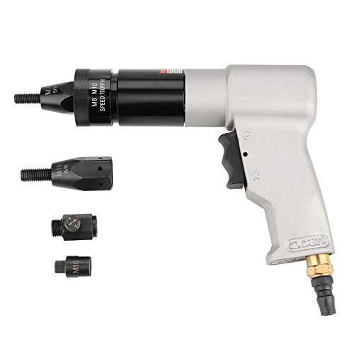 Pistola de remachado neumática Tuerca de extracción Herramienta de pistola de tuerca remachadora de aire automática con portabrocas con accesorios (KP-7323 M8/M10)